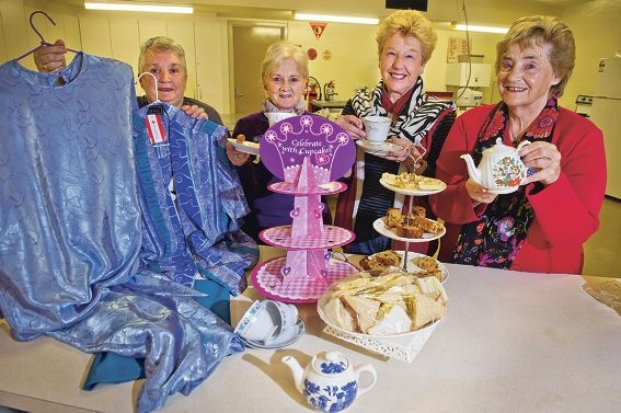 CWA members Clare Speedie, Diane Jones, Margaret Collins and Pat Johanson prepare for the High Tea with Fashion. Picture: Emma Reeves www.communitypix.com.au d405514