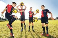 U12s Balcatta Soccer Club players Luke Mammoliti, David Di Cino, Jake Gulizia and Brayden Jones. Picture: Marcus Whisson d403228