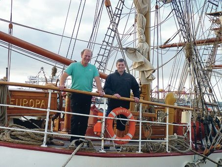 Navy cadet Jason Moir (right) with Bark Europa captain Harko Lambarts.