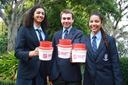 Students Layaal Mikhael (15), Steven Thiele (15) and Lauren Hanson (14) will be collecting for the Red Shield Appeal.