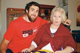 West Coast Eagle Josh Kennedy and Fern River resident Susan Fisher.