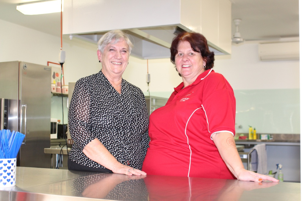 Former canteen manager Sue Walker and current manager Debbie Bowie.