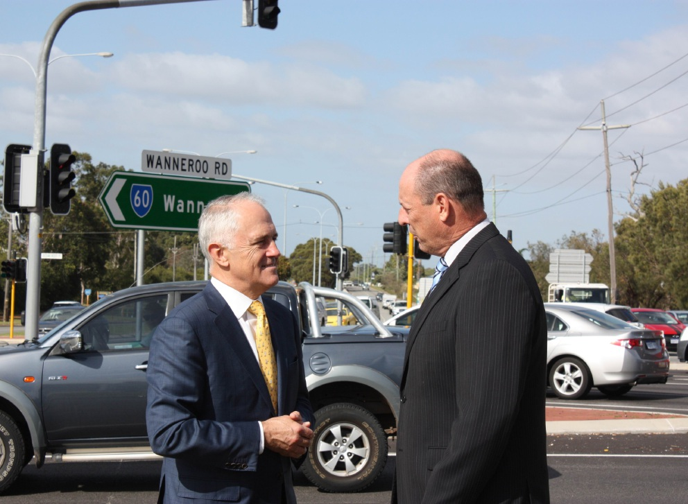 Prime Minister Malcolm Turnbull and Cowan MHR Luke Simpkins at the intersection in question.