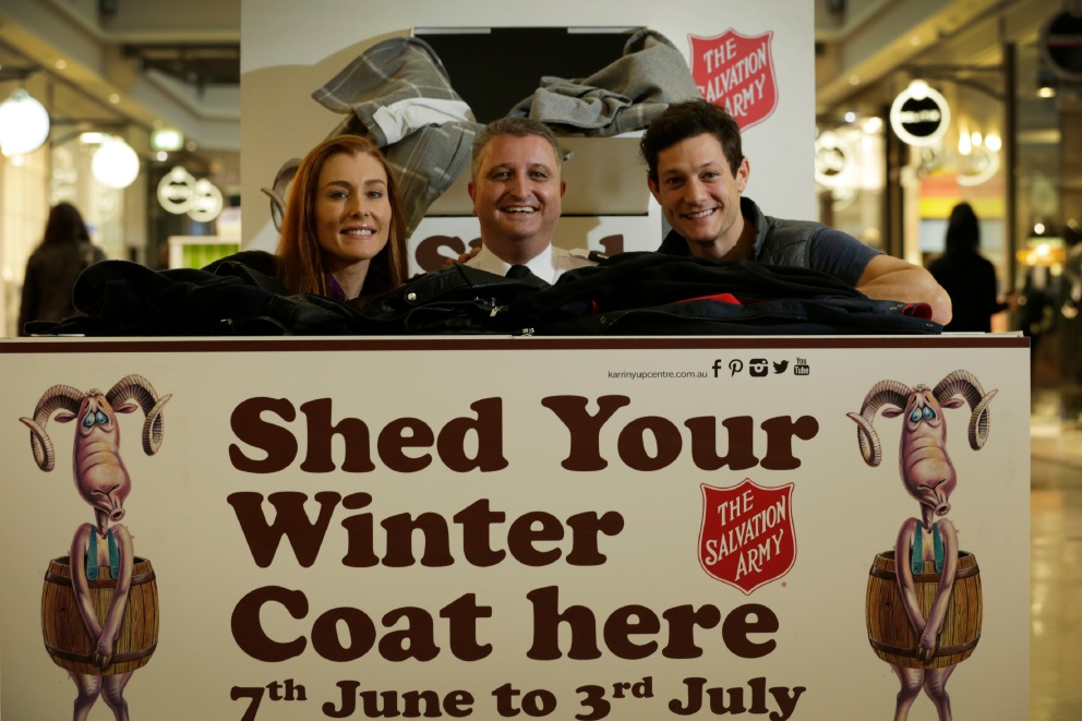 Ghost The Musical stars Gemma Rix and Rob Mills support Salvos shed your winter coat campaign.