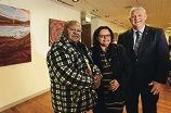 Aboriginal elder Noel Morrison, artist Tresa Mundraby and Cockburn mayor Logan Howlett. Picture: Elle Borgward d404086