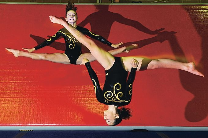 Gymnasts, from top, Niamh Collins and Bridget Meade. |Picture: Marcus Whisson www.communitypix.com.au d404055