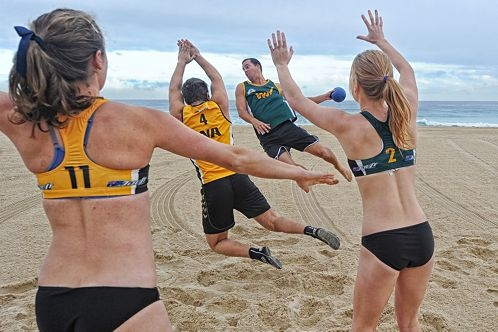 Beach handballers, from left, Bronwyn Smith, manager Rikke Petersen, Denise Westhaeusler, Christie Suggate, Oliver Machell and Will Davidson. Picture: Marcus Whisson www.communitypix.com.au d404146