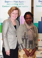 Human Services Minister Jan McLucas with Cannington new mum Nayore Lojore.