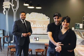 Finn Franchise Brokers' Rajiv Rajan with Pastacup owners Jaspreet Dhanjal and Shikha Mahajan. Picture: Martin Kennealey www.communitypix.com.au d404081