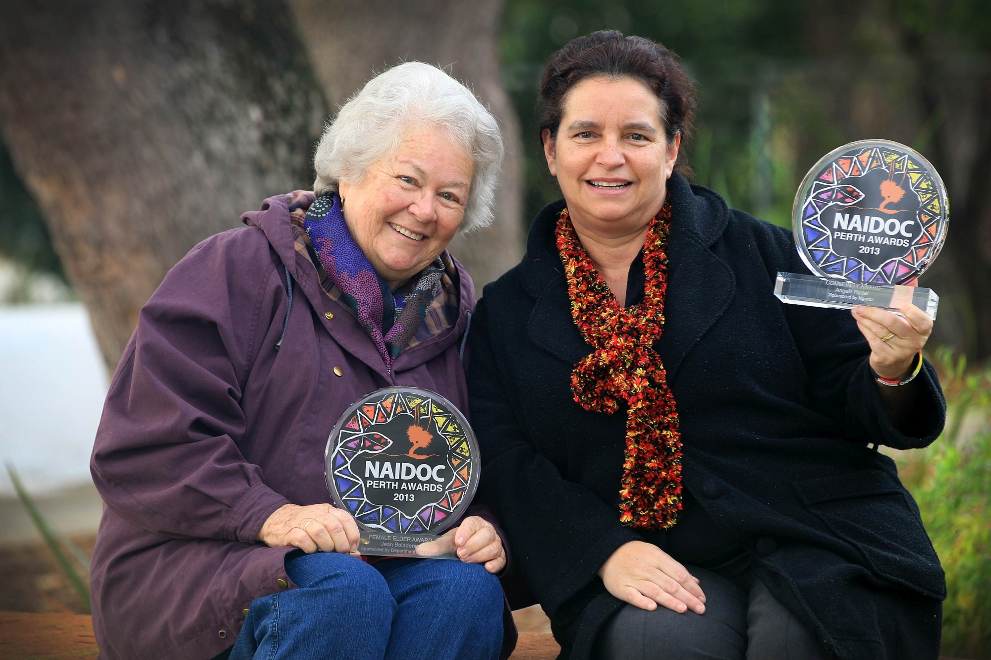 Jean Boladeras and Angela Ryder with their Naidoc Perth 2013 awards. Picture: Marcelo Palacios www.communitypix.com.au d404324