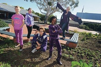 Eden Hill Primary School Year 2 teacher Bec Dwyer with students, from left, Dylan Dalgleish, Tenika Baenisch, Koskei Partington-Hopes and Venus Kairiza.