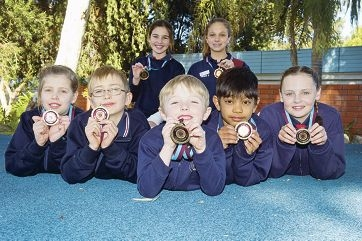 Front (from left) Anika Hill, Jaiden Koutsoukas, Toby Harrison, Shrey Patel and Izzy Turner with (back) Jessica Antoniou and Tasmin Cilliers. Picture: Emma Reeves d403286