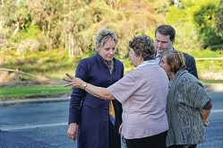 Perth Federal Labor candidate Alannah MacTiernan and Basendean Mayor John Gangell chat with residents Margaret Ashby and Judy Chester. Picture: Marcus Whisson d404227