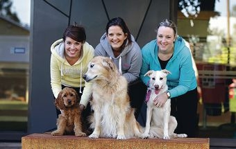 Amy Brine and Albie, Heather Stoddart and Molly, and Sally Fairnie and Ruby. Picture: Martin Kennealey www.communitypix.com.au d403959