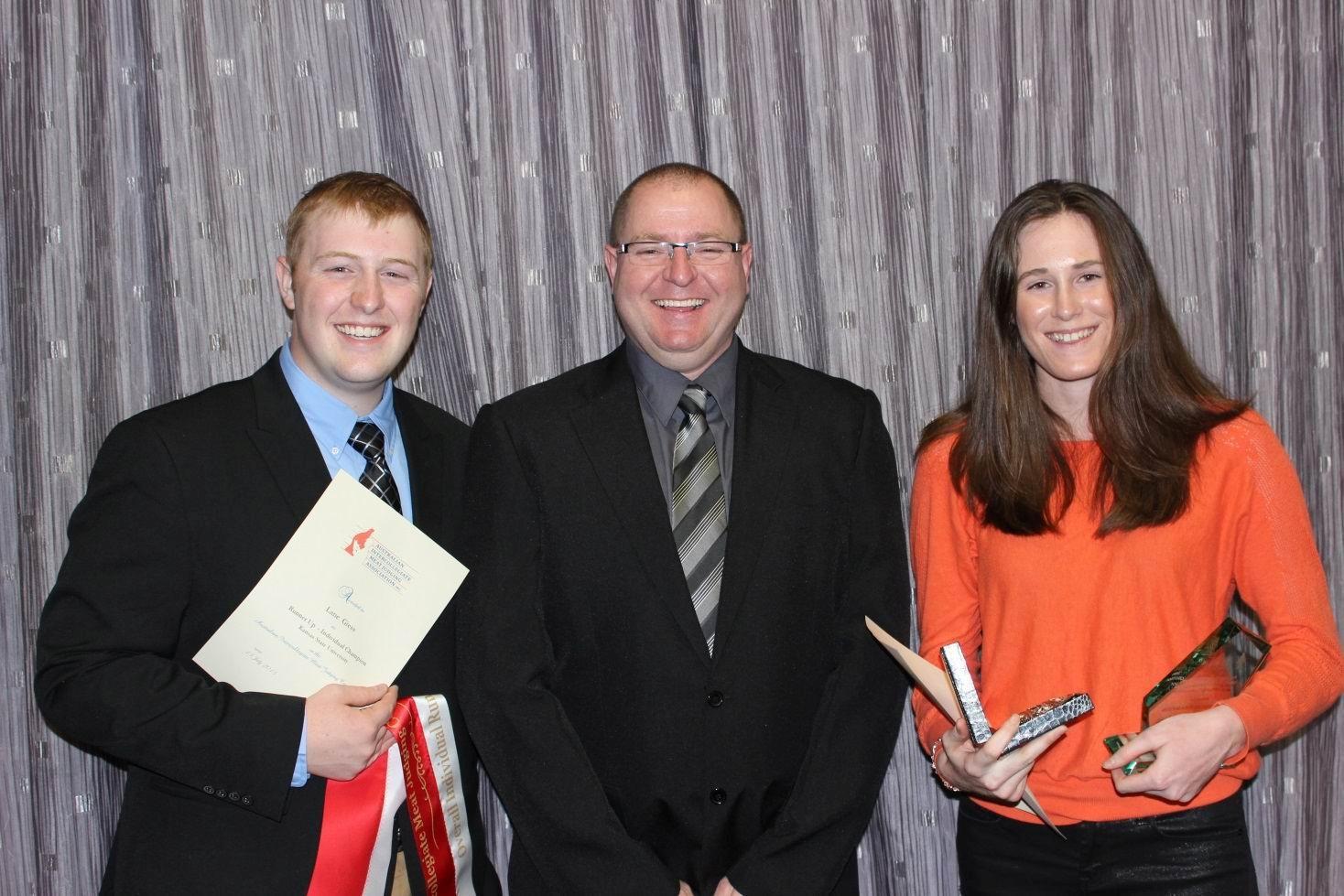 Runner-up Lane Geiss from Kansas State University, Hayden Cornell (Teys Australia) and winner Courtney O'Sullivan.