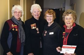 Joan Lampard, Audrey Poole, June Pillion, Ruby Stewart are the Red Cross Award recipients.