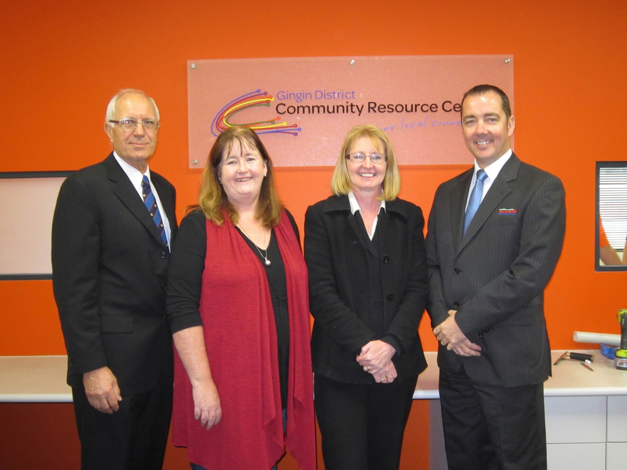 Shire President Michael Aspinall, CRC chairwoman Linda Balcombe, manager Carrie Edwards and Shire CEO Jeremy Edwards