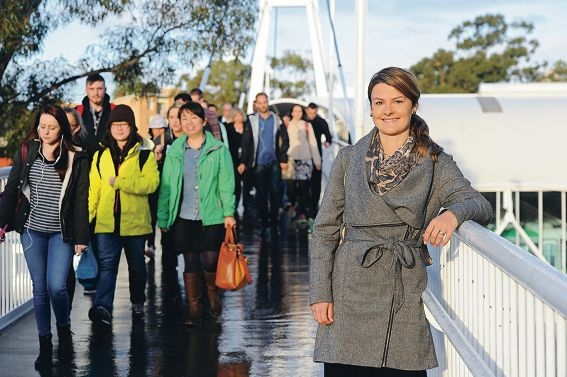 Marion Heavens on the footbridge from Leederville station.