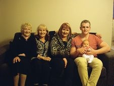 Five generations: Kris Parker and newborn daughter Alexis with, from left, Vasitai Firth, Julie Parker and Angela Parker.