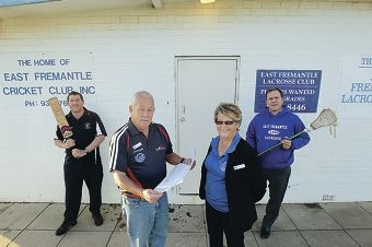 Vic Strnadica, president East Fremantle Cricket Club; Peter Cann, deputy president East Fremantle Lacrosse Club; Bev Leavy, president EFLC juniors and David Miller,