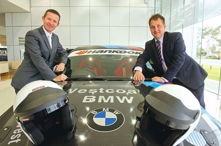 Alan Matthewson and Darren Padley with their very quick BMW. Picture: Emma Reeves www.communitypix.com.au d404359
