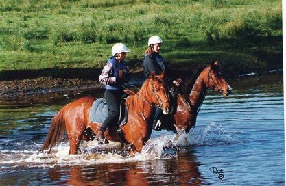 Local riders cross the Avon River at Muresk. Picture: Chris Ros