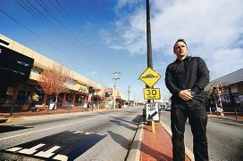 Business owner Jason Outten who says the speed humps are absolutely necessary on Fitzgerald Street. Picture: Andrew Ritchie www.communitypix.com.au d404910
