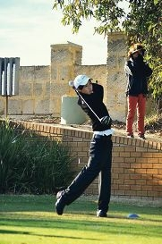 Minwoo Lee in action at the Drummond 54 Hole Classic at Royal Fremantle Golf Club last week.