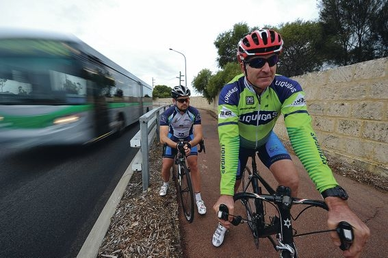 Peel Cycling Club members Kurt Harmer and Stephen Dodd would welcome new cycling laws. Picture: Jon Hewson www.communitypix.com.au d405071