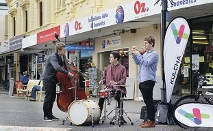 The WAYJO Swing Band performing in the High Street mall. Picture: Martin Kennealey d404576