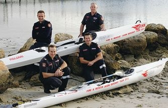 Firefighters Rob Hoskings, Cameron Famlonga, Derick Stevenson and Lloyd King are tackling the Avon Descent this weekend. Picture: Martin Kennealey www.communitypix.com.au d404562