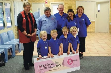 Bullsbrook community kindergarten staff and children with their big cheque.