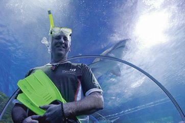 Darren Finch will swim with sharks to honour his late father and raise funds for motor neurone disease research. Picture: Emma Reeves d404923