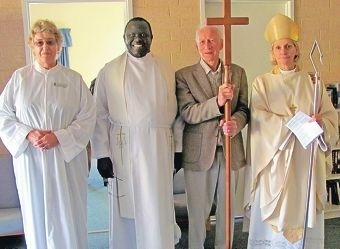 Moira Cumberworth, Rev. Onesimo Yugusuk, Don Beach and Bishop Kay Goldsworthy.