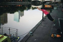 Sam Carter shows his athleticism by attempting a wall-to-boat-rail jump for a photo shoot in Melbourne recently.