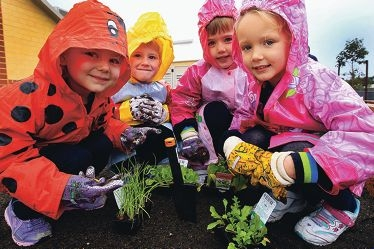 Kindergarten children Mollie Ward,Marshall Morgan,Jemma Shilling and Chloe Mears