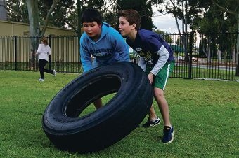Connor Banks and Tom Farrier at the bootcamp. Picture: Emma Reeves www.communitypix.com.au d404482