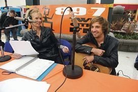 Left: Radio host Sue Myc interviews singer/ songwriter Morgan Bain during an outside broadcast from Lakeside shopping centre. Above: Kimberley Heberley with Sue Myc. Picture: Emma Reeves d404454