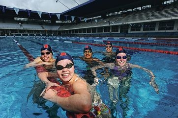 Perth City Swimming Club swimmers, from left, Will Rollo (16), Jordana Tonner (15), Paras Nain (15), Brett Fielding (16) and Georgia Truscott (15) Picture: Marcus Whisson d404952
