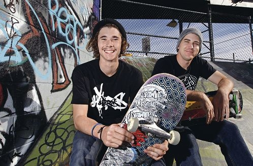Skateboarders Will Kitely and Donny Fraser, chief of Queensland skate company Drawing Boards, which uses skateparks to bring the community together. Picture: Elle Borgward www.communitypix.com.au d403971