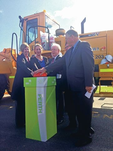 Nicole Ashby, director of FIFO Families, Sharon Bird (Federal Minister for Regional Communications), Town of Victoria Park Deputy Mayor John Bissett, Federal Minister for Resources and Energy Gary Gray and City of South Perth Deputy Mayor Kevin Trent switch on the NBN in Western Australia.
