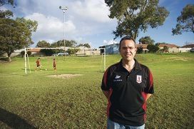 Kingsway United Christian Football Club president Anthony LePore wants better lighting on this oval. Picture: Emma Reeves 405799
