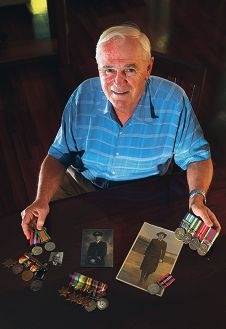 Richard Usher with medals from family members. Picture: Neil Mulligan www.communitypix.com.au d377673