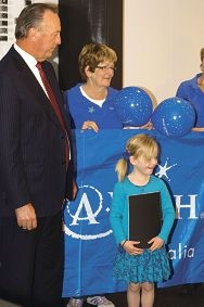 Lania Fitzgerald with Mineral Resources' Chris Ellison and Make-A-Wish volunteer Diane Jackson.