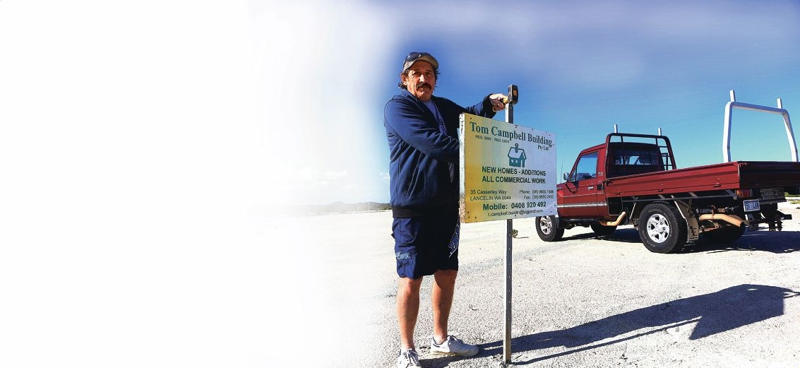 Lancelin builder Tom Campbell hopes to start building homes at Lancelin South in the coming weeks. Picture: Kym Illman