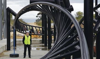 Adventure World CEO Mark Shaw watches the new ride take shape. Picture: Martin Kennealey www.communitypix.com.au d405080