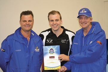 District Manager of Swans District Isaac Stewart, centre, recently presented Chittering Junior Football Club president Ian Hall, left, and secretary Alan Nairn with its Gold Level Accreditation Certificate.
