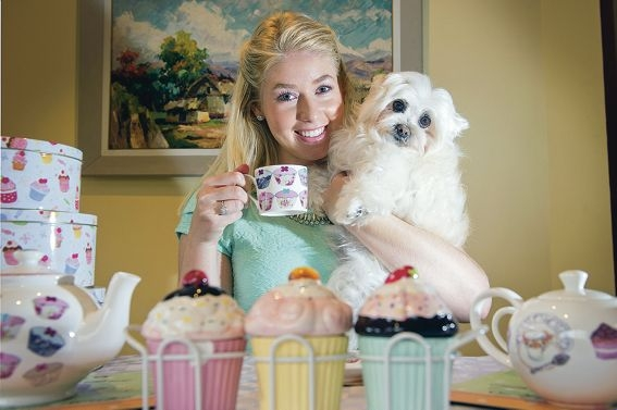 Puppy love and beyond: Jessica Boswarva is helping organise a high tea for Animal Aid Abroad. Picture: Emma Reeves www.communitypix.com.au d405022