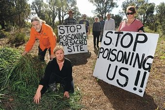 Friends of Success Hill Reserve spokeswoman Jane Bremmer with local resident and National Toxics Network chemical advisor Lee Bell (left) and local health practitioner Jacquie Kelly and fellow protestors. Picture: Marcus Whisson d405432