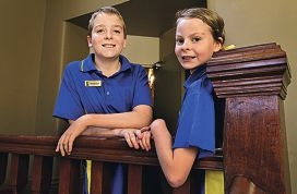 Brentwood Primary School students Callum and Eleanor Green during their recent visit to Government House. Picture: Elle Borgwardd405198